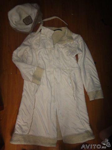 M&S нежнейшее пальто+шапочка, шампань 8-10 л - 800
