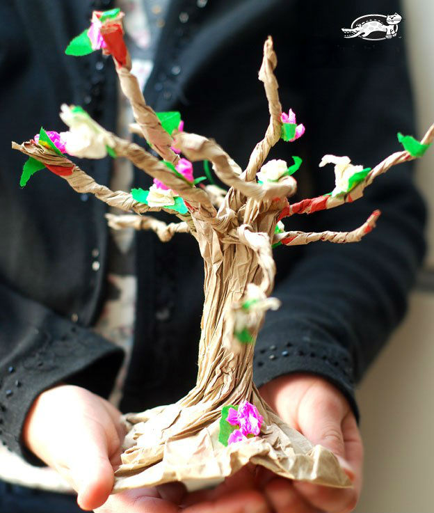 Бумажное дерево сделать своими руками 455