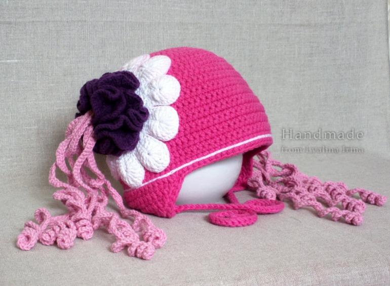 Вязание крючком осенние шапки для девочки 91
