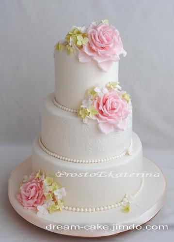торт свадебный с розами и гортензией рецепт