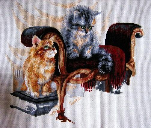 Вышивка кошачье семейство риолис