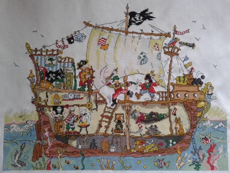 Схема для вышивки пиратского корабля