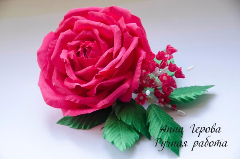 Розы из креп сатина