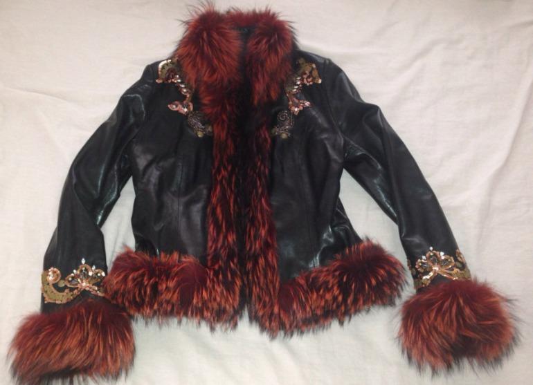Куртка Elibol кожа, чернобурка, эксклюзивная вышивка 44-46, в С-Пб+ почта