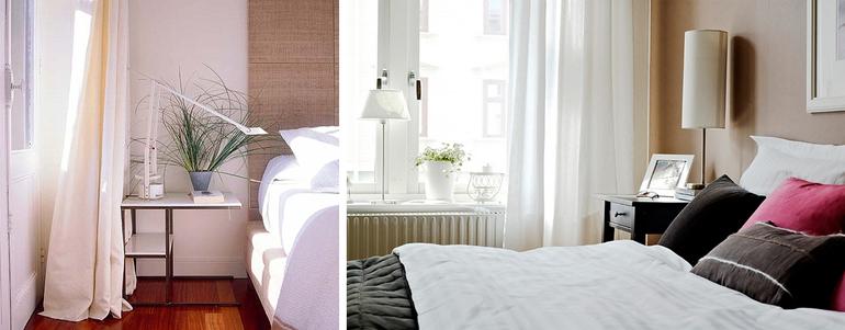 белые шторы для спальни фото