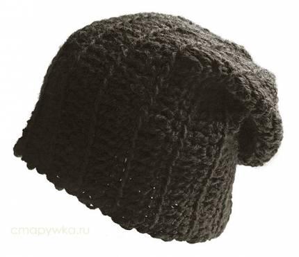 схема вязания шапки крупной вязкой.