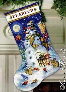 Рождественский носок с вышивкой