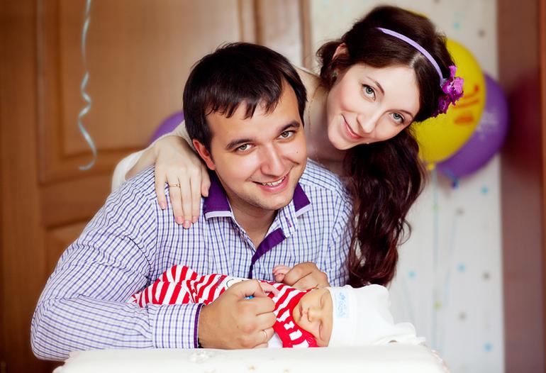 Антон, Алиса и новорожденный Илюша