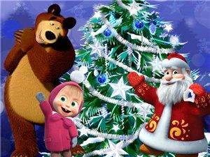 картинки маша и медведь новогодние