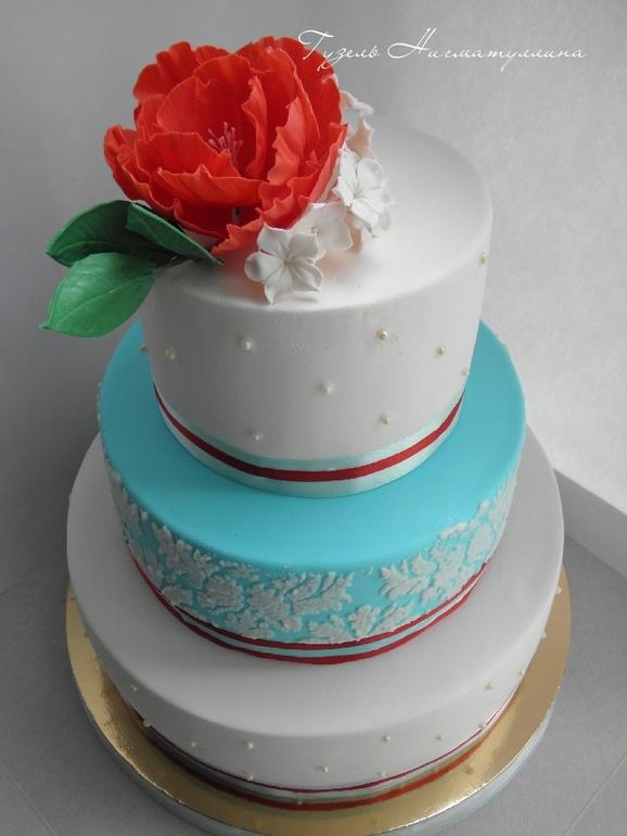 Торт свадебный в красно-бело-голубых тонах)