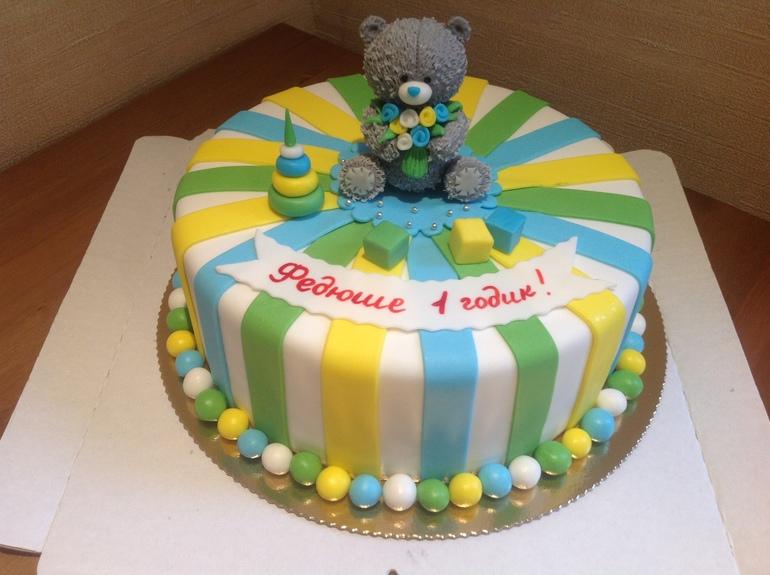 Детский торт для мальчика на 1 год своими руками 100