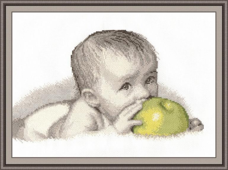Вышивка ребёнок с яблоком