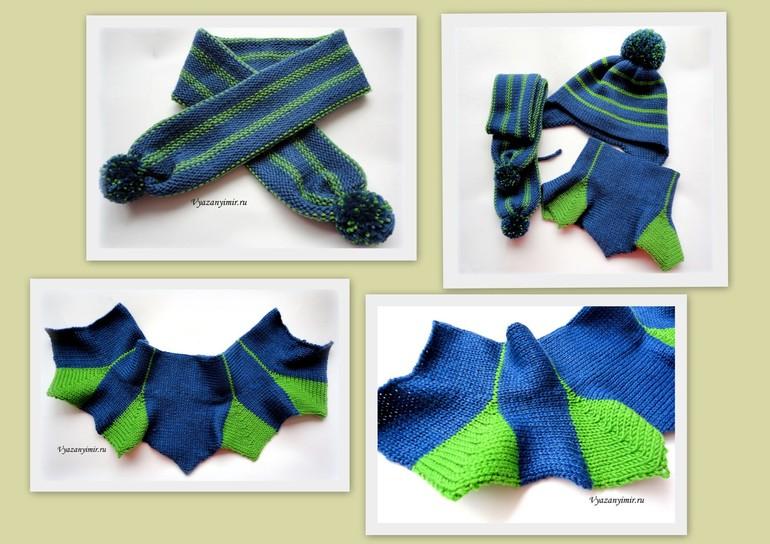 Шапка с ушками и шарфик для мальчика.