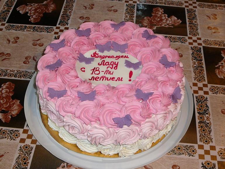 Как украсить торт для девочки на день рождения своими руками из крема 3