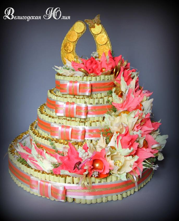 Торт из живых цветов и конфет своими руками