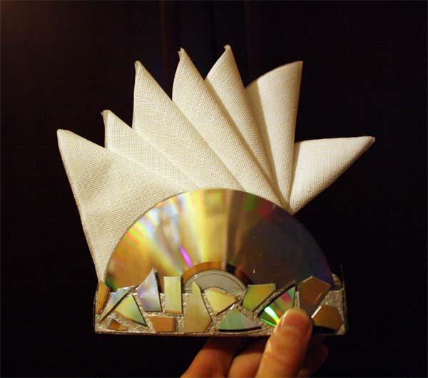 Как сделать салфетницу из дисков своими руками