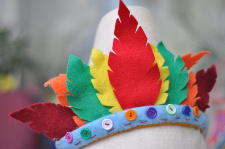 Индейская повязка на голову с перьями 102