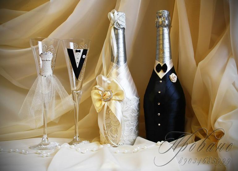 Украсить бутылки с шампанским для жениха и невесты своими руками