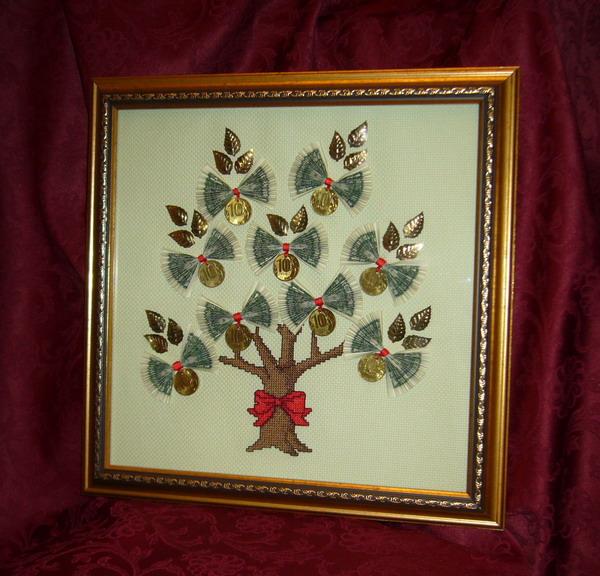 Денежное дерево из купюр в рамке